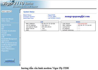 Hướng dẫn cấu hình Modem Vigor Fly 200F