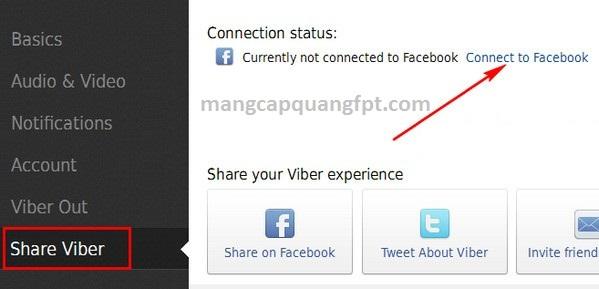 hướng dẫn kết nối tài khoản Viber với facebook