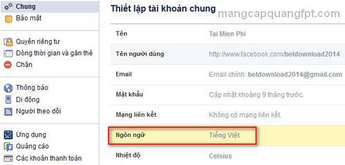Hướng dẫn chuyển đổi ngôn ngữ Facebook sang Tiếng Việt