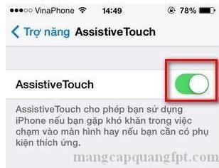 Cách bật phím Home ảo trên Iphone Ipad