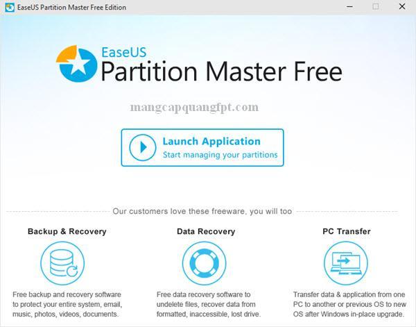 EaseUS Partition Master Tăng giảm dung lượng ổ C không mất dữ liệu