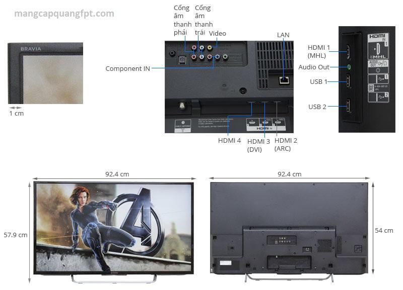 Thông số và giá bán TV LED Sony KDL-40W700C